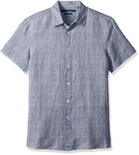 Perry Ellis Men's Plaid Linen Cotton Shirt, Bright Sapphire, Extra Large