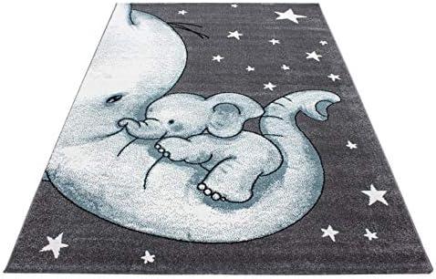120 x 170 cm dise/ño de Elefantes Ayyildiz Teppich Alfombra Infantil para habitaci/ón Infantil Color Gris Blanco y Azul