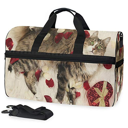 Valentine's Day Magic Cat Gym Bag with Shoes Compartment Sports Swim Travel Overnight Duffels