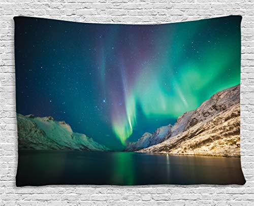 Ambesonne Nature Tapestry, Mystical Aurora Borealis Above The Rocky Hills Magnetic Poles Solar Space Panorama, Wall Hanging for Bedroom Living Room Dorm, 60 W X 40 L Inches, Jade - Alaska Aurora Borealis