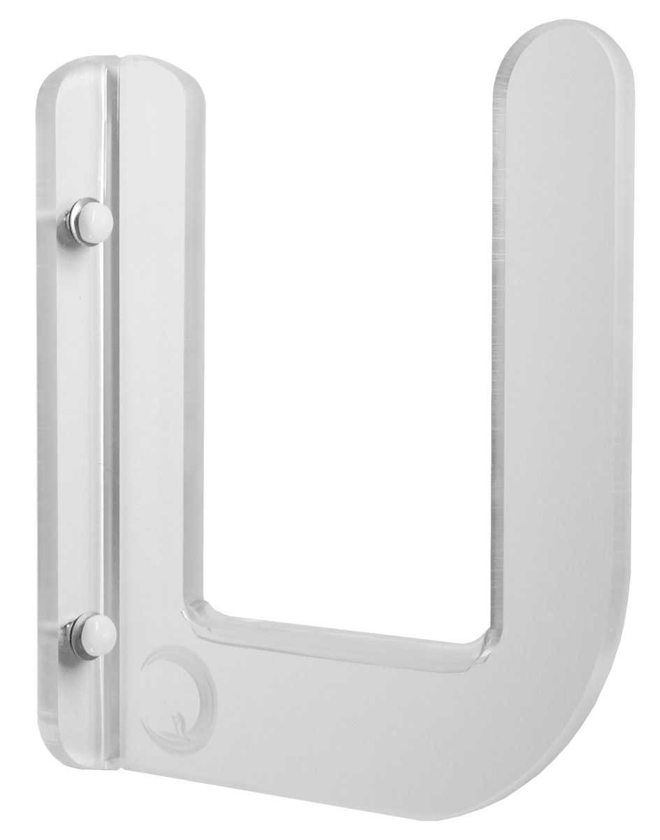Clear Acrylic SUP Wall Rack Set! Super Thick 1/2'' Acrylic with 5'' Gap Holds Most SUPs. Fits any board 5'' thickness or less. Strength Tested Over 200lbs! Made In USA. Store your SUP in tight spaces easily and beautifully. Comes complete with clear anti-din