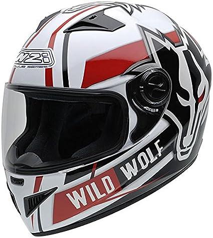 Amazon.es: NZI 150200G607 Must Wild Wolf Casco de Moto, Color Blanco, Negro y Rojo, Talla 57 (M)