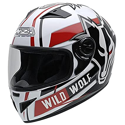 NZI 150200G607 Must Wild Wolf Casco de Moto, Color Blanco, Negro y Rojo, Talla 56 (S)