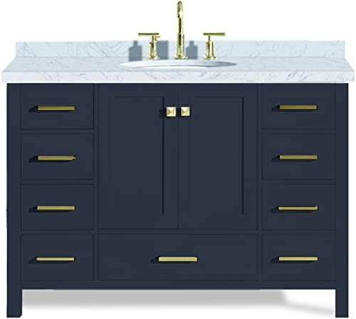 ARIEL Cambridge A049S-VO-MNB 49 Inch Single Oval Sink Solid Wood Midnight Blue Bathroom Vanity with 1.5 Inch Edge White Carrara Marble Countertop