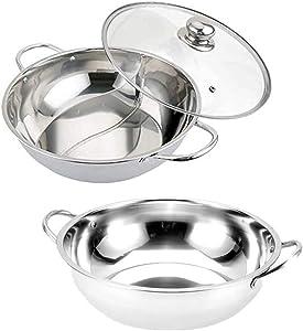 Shabu Shabu Hot Pot, Hot Plate Cookware Set Ramen Cooker, Soup Base Stainless Steel Pot Set, 3pcs Set of 12