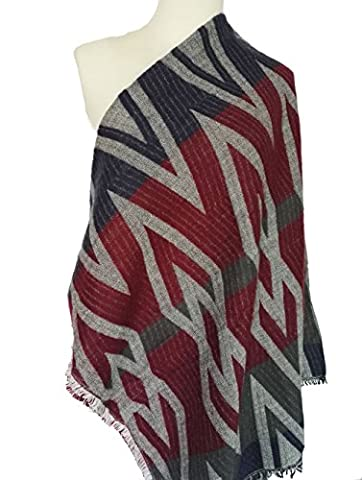 Black Friday DH-MS Dress Thicker Warm Diamond Pattern Artificial Cashmere Scarf(Red) - Harry London Truffles