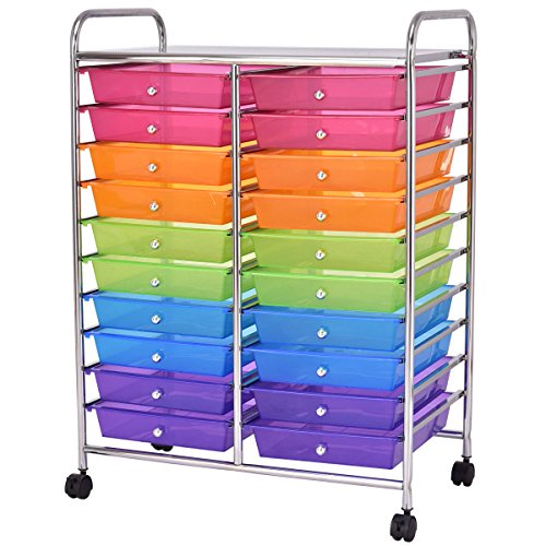 Giantex 20 Drawer Rolling Storage Cart Tools Scrapbook Paper Office School Organizer, Multicolor