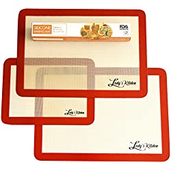 Ludy's Kitchen 3-Pc Silicone Bakeware Set - Professional Grade Silicone Baking Mats - Replaces Parchment Paper - Great Gift Ideas - Non-Stick, Durable, & Reusable Baking Sheet Liners
