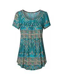 Inkach Plus Size Women Printed Blouses Tops Summer Short Sleeve Pleated Tunic Shirts