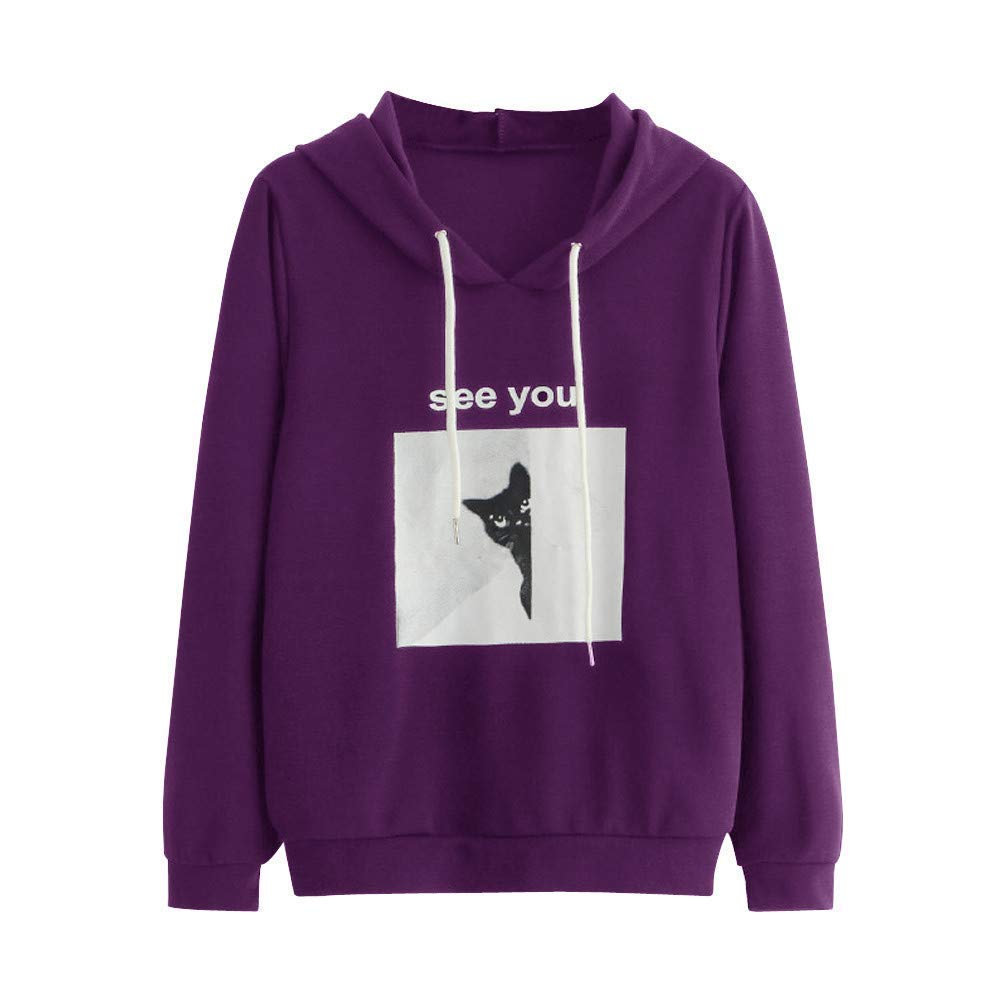 BRZM Fashion Hoodies Klassische Warm Sweatshirts Womens Hoodies, Lose Fell und Seek Cat Print Sweater Jumper Langarm Pullover Sweatshirt Tops (Farbe : Purple, Größe : Small)