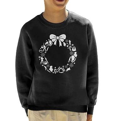 he man masters of the universe christmas wreath pattern kids sweatshirt - He Man Christmas Sweater