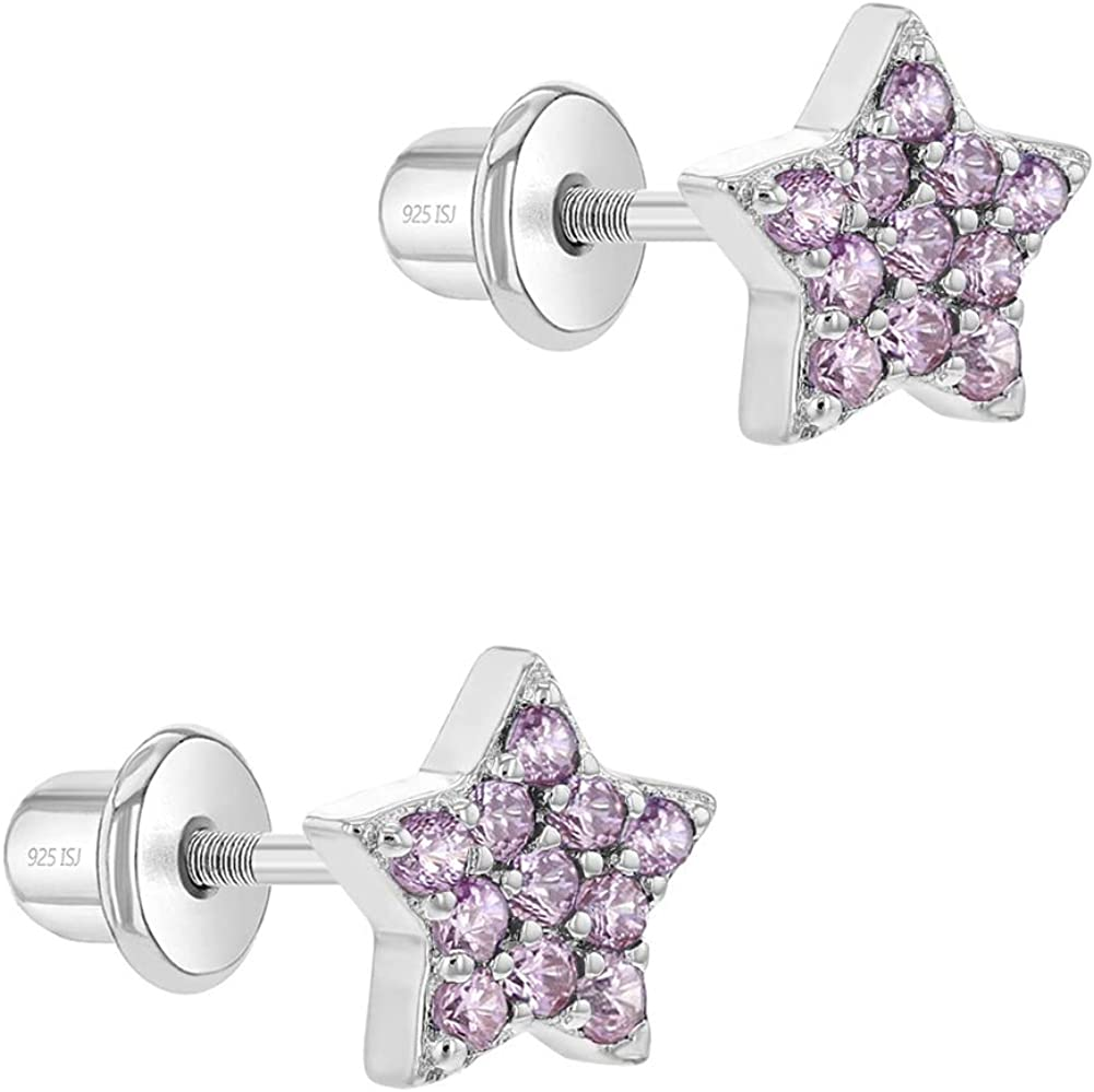 In argento sterling 925/a forma di stella CZ vite posteriore Baby Infant Little Girls