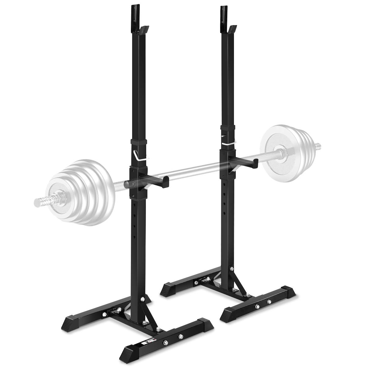 Goplus Pair of Adjustable Standard Squat Stands 42''- 67'' Rack Solid Steel Portable Barbell Dumbbell Power Rack Free Bench Press Stands Home Gym