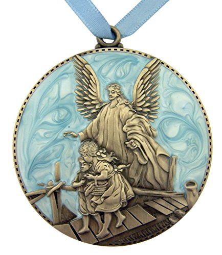 Pewter and Enamel Crib Medal with Guardian Angel for Baby Nursery Decor, 3 Inch (Blue) ()
