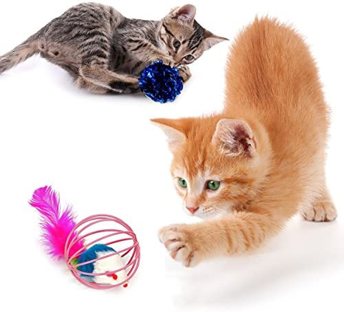 upsimples Cat Toys Including Cat Teaser Wand Interactive Feather Toy Fluffy Mouse Mylar Crinkle Balls Catnip Pillow for Kitten Kitty 6