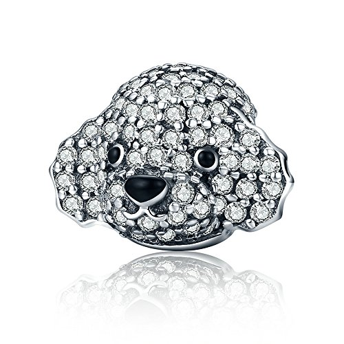 Everbling Cute Poodle Clear CZ 925 Sterling Silver Bead Fits European Charm Bracelet