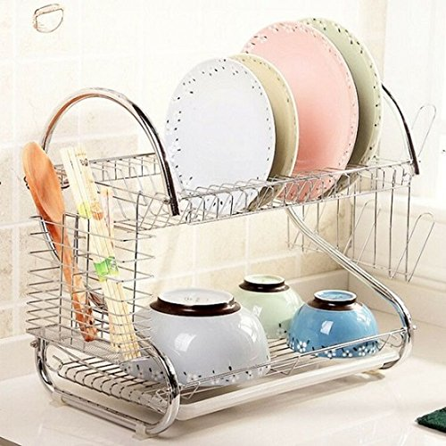 Bowl Drainer (Silvertone Aluminum Multifunctional S-shaped Dual-layer Bowls/Dishes/Chopsticks/Spoons Collection Shelf Dish Drainer)