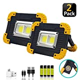 LED Portable Work Light, XQOOL Super Bright Rechargeable COB Flood Lights Waterproof Work Lamp with Stand Built-in Power...