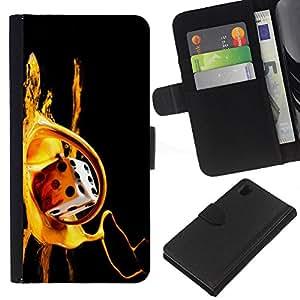 KingStore / Leather Etui en cuir / Sony Xperia Z1 L39 / Paint Dados de oro de Bling Tarjeta de juego de Poker