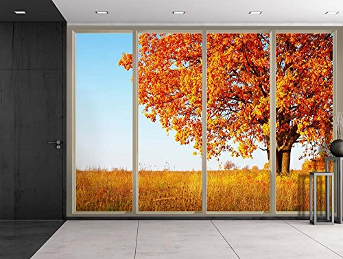 Orange Lone Tree During Fall Time on a Yellow Field Viewed From Sliding Door Creative Wall Mural Peel and Stick Wallpaper