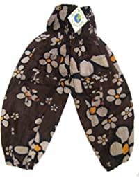 Fair Trade Childrens Unisex Brown Daisy Print Japani Harem Style Trousers