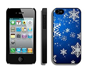 Case For Iphone 5C Cover,Christmas Blue Snowflakes Dreamlike Silicone Black Case For Iphone 5C Cover