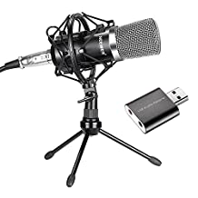 Neewer NW-700 Condenser Microphone for Mac and Windows Computers, with Desktop Stand, Shock Mount, Audio Cable, Anti-wind Foam Cap and USB Sound Adapter Fit for Studio Broadcast Recording (Black)