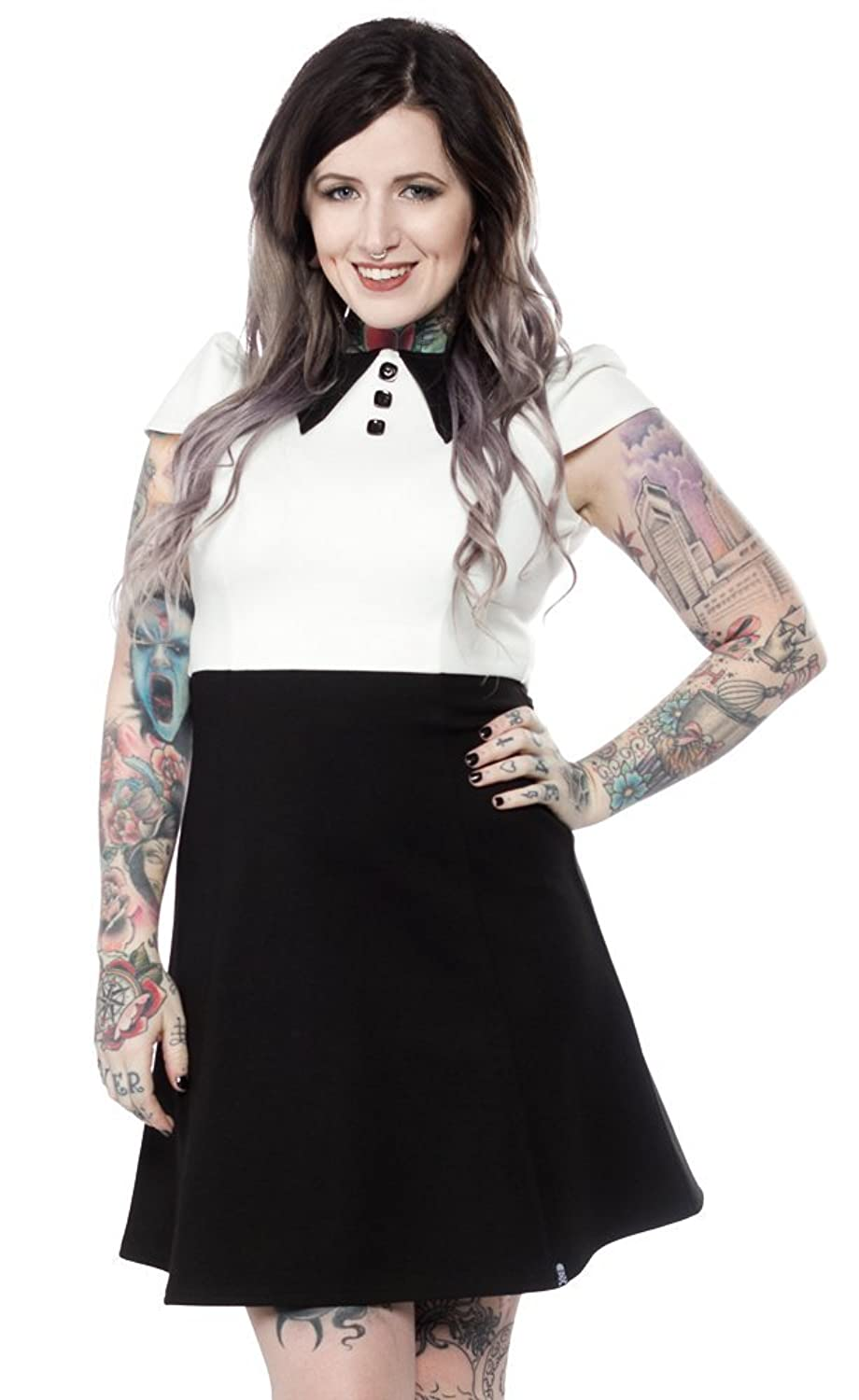 Vintage Retro Halloween Themed Clothing Sourpuss Roundabout Dress Black/White $56.99 AT vintagedancer.com