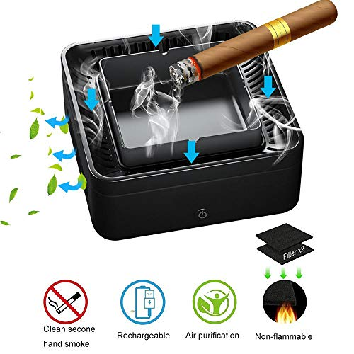 Smoke Grabber - Lesgos Smokeless Ashtray Air Purifier, Multifunction USB Rechargeable Smoke Grabber Ashtray Secondhand Smoke Remover Negative Ion Air Freshener for Car/Home/Office