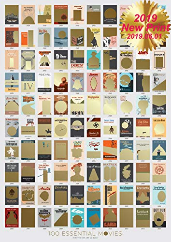 - Movie Scratch Off Poster with Easy Scratch Off Vintage Gold Layer - Top 100 Movies of All Time Bucket List (17 x 24) - Premium Wall Decor for Movie Lovers