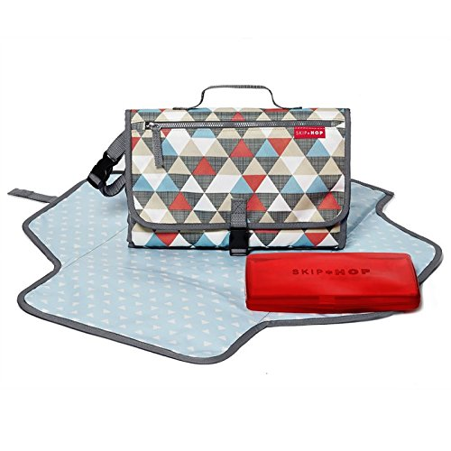 Skip Hop Baby Pronto Portable Changing Station with Cushioned Changing Mat and Wipes Case, 3 Pockets, Multi Triangles