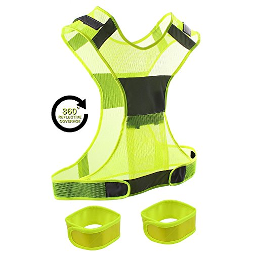 KepooMan Reflective Vest + 2 Reflective Safety Wristbands & Bag Comfortable, Adjustable & Lightweight Gear with Pocket for Running, Cycling, Jogging, Walking and Dog walking