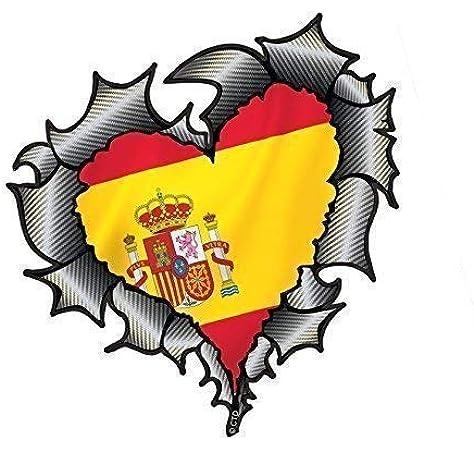 En Forma de Corazón Efecto Fibra de Carbono Rasgado Metálico Corte Diseño&España Bandera Española Pegatina Vinilo Coche 105x100mm: Amazon.es: Coche y moto