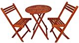 Zen Garden Eucalyptus Foldable 3-Piece Round Bistro Set, Natural Wood Finish For Sale