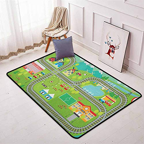 Kids Activity Better Protection Train Tracks with Colorful Town School City Mall and Amusement Park Fair Kid Game Carpet W47.2 x L71 Inch -
