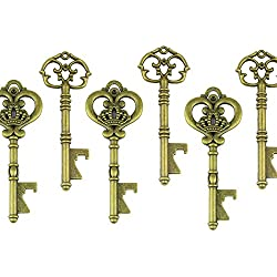 Makhry Mixed 20 Extra Large Key Shape Bottle Openers Antique Copper Skeleton Keys - 2 Styles,20 Key Openers (Bronze)