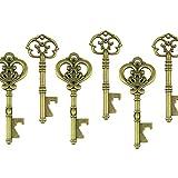 Makhry Mixed 20 Extra Large Key Shape Bottle Openers Antique Copper Skeleton Keys - 2 Styles,20 Key Openers (Bronze)