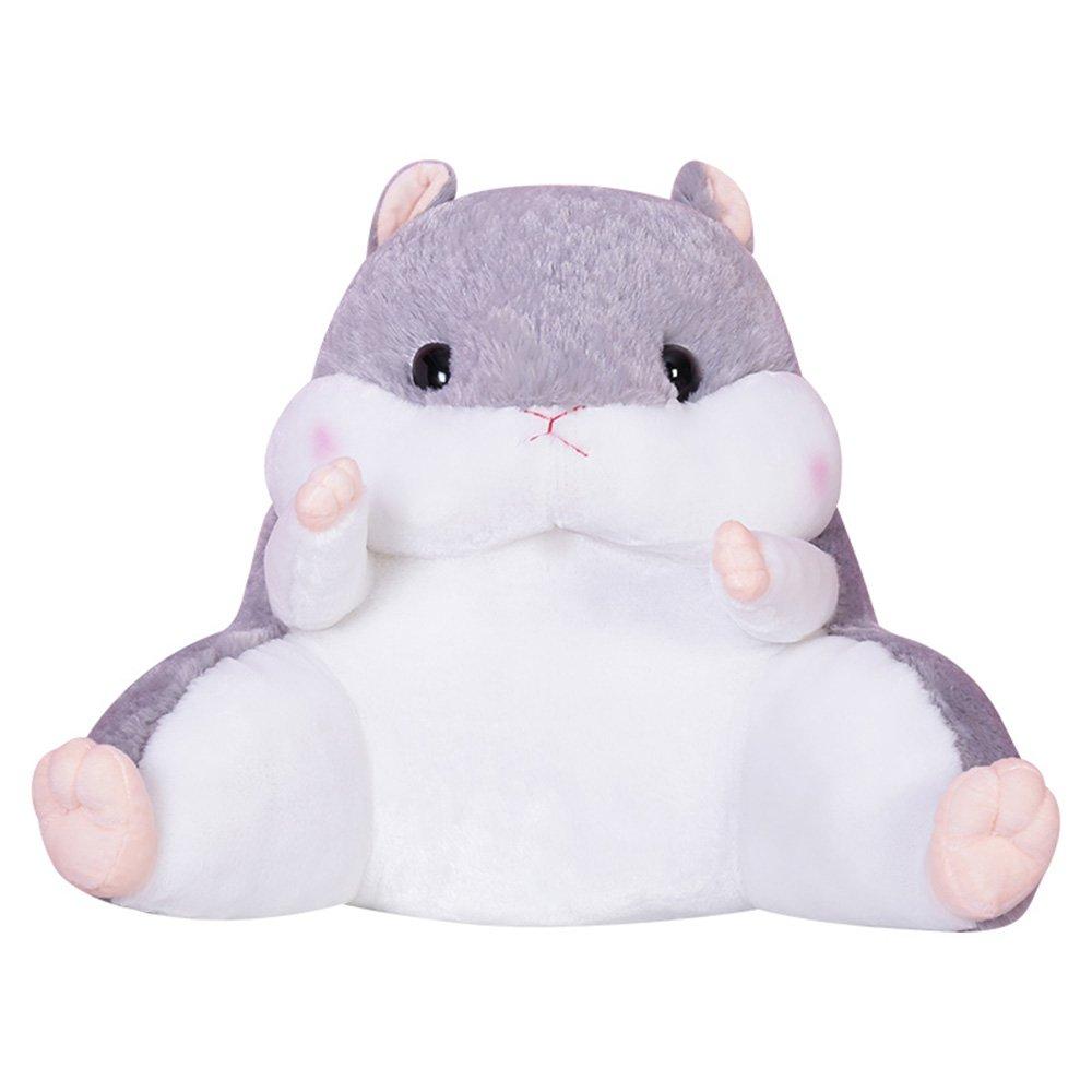 WAIT FLY Lovely Cartoon Hamster Shaped Plush Lumbar Pillows Waist Rest Cushion Bedrest Reading Pillows Chair Back Cushion for Bedroom Office Car