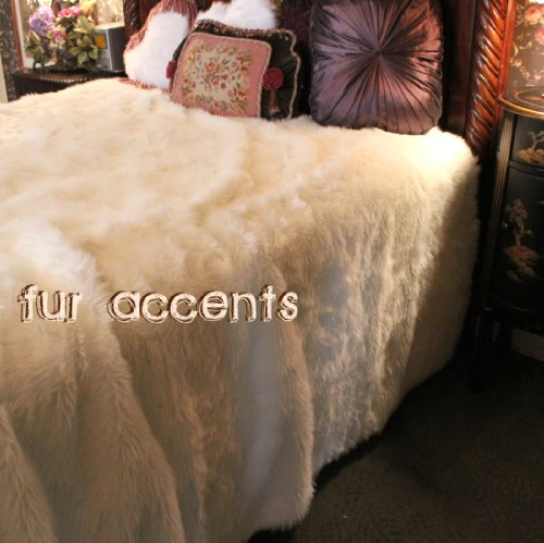 Fur Accents Faux Fur Queen Size Bedspread / Throw Blanket / Off White 90'' X 96'' Queen Size by Fur Accents