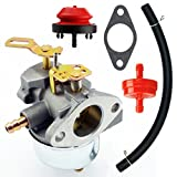 Yingshop Adjustable Carburetor with Gasket Fuel Filte Line Kit for Tecumseh 640349 640052 640054 640058 640058A HMSK80 HMSK85 HMSK90 HMSK100 HSMK110 LH318A LH358SA 8HP 9HP 10HP Snowblower Generato Chipper Shredder Carb