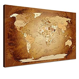 LanaKK Mapamundi con Corcho para Fijar los destinos – Mapa del Mundo marrón Colorido, inglés, lámina sobre Bastidor Camilla en marrón, Enmarcado en una Parte de 60 x 40 cm