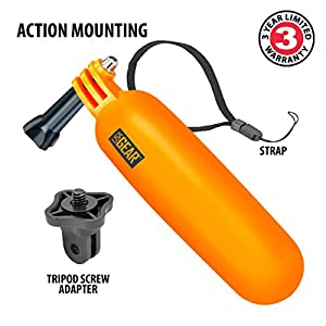 Action Cam Floating Monopod Mount Handle with Waterproof Wrist Strap by USA Gear - Works With GoPro Hero6 Black , Hero5 Black/Session , YI 4K , HTC RE Camera , Ion Air Pro 3 , AKASO EK7000 and More by USA GEAR
