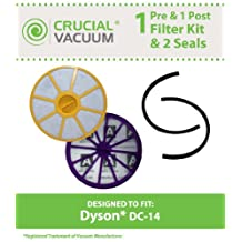Dyson DC14 Pre & Post Filter Set Plus Seals Designed To Fit All Dyson DC14, DC15 Upright Vacuums, Compare Part # 905401-01, 901420-02, Designed & Engineered by Crucial Vacuum