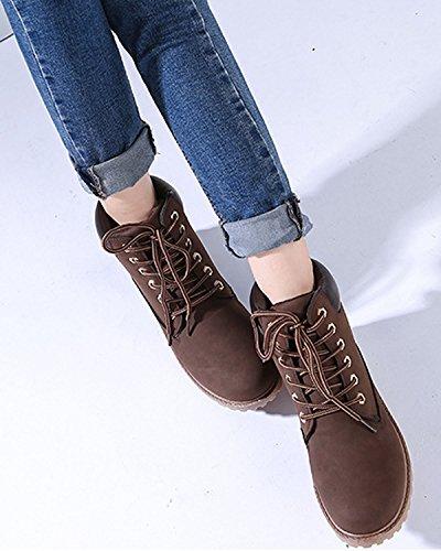 Hiver En Chaussures De Neige Air À Bottines Randonnée Plateforme Plein Minetom Marron Lacets Femme XwI8Y7q