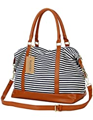 BAOSHA HB-28 Ladies Women Canvas Travel Weekender Overnight Carry-on Shoulder Duffel Tote Bag With PU Leather Strap (Blue)