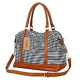 BAOSHA HB-28 Ladies Women Canvas Travel Weekender Bag Overnight Carry-on Duffel Tote Bag (Blue)