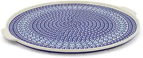 Polish Pottery 17¼-inch Pizza Plate (Blue Diamond Theme) + Certificate of Authenticity