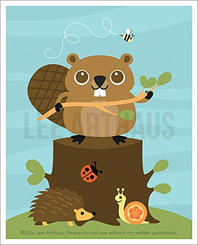 86a-beaver-holding-tree-branch-and-forest-friends-unframed-wall-art-print-by-lee-arthaus