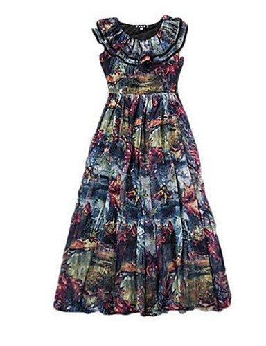 PU&PU Robe Aux femmes Mousseline de Soie Street Chic,Imprimé Col Arrondi Midi Polyester , black-m , black-m