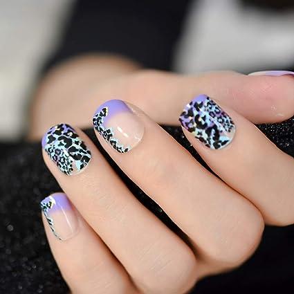 EchiQ uñas postizas moradas naturales y moradas en forma de leopardo para uso diario en la